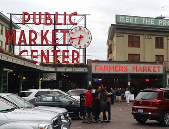 Pikes Place Market in Seattle is a great stop for roadtrips through Washington state.