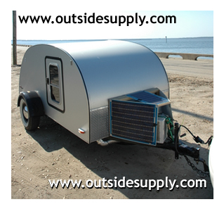Teardrop Camper with Portable solar panel kit.