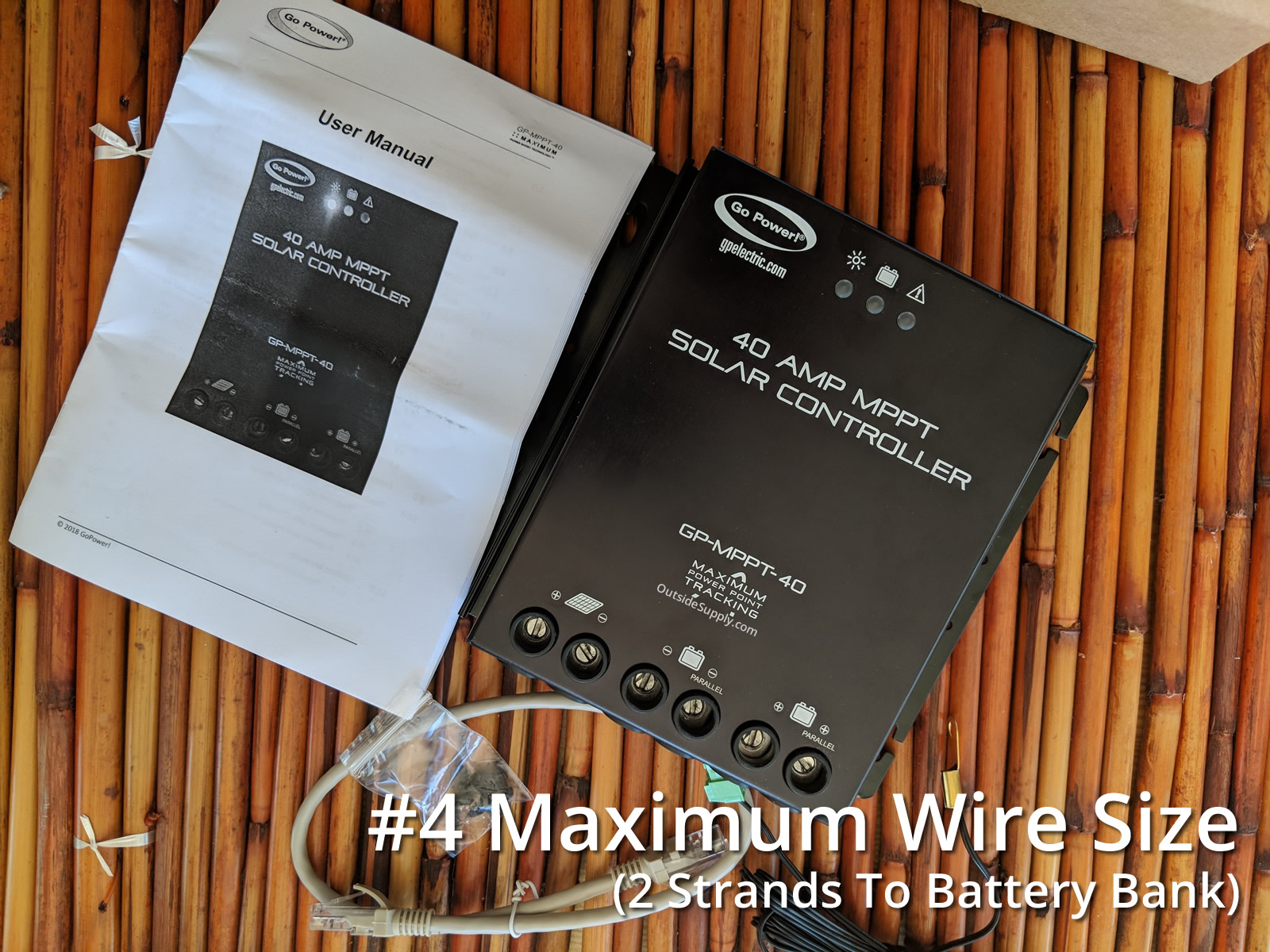 Maximum wire size to house battery is #4, but can use 2 strands.