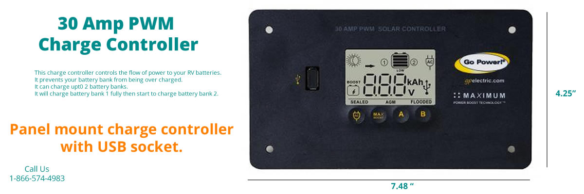 Go Power 30 amp solar charge controller included with each kit.
