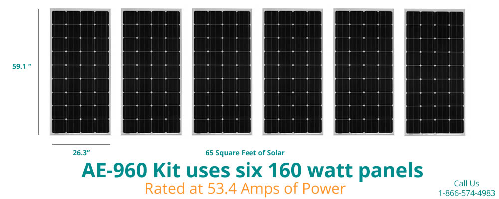 960 watt solar kit uses 6 panels run in series