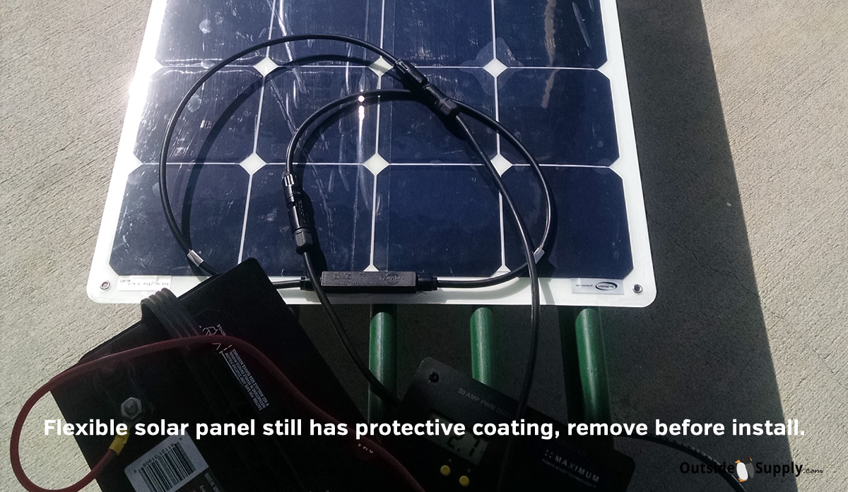 Protective film needs to be removed before installing RV Flex panel.