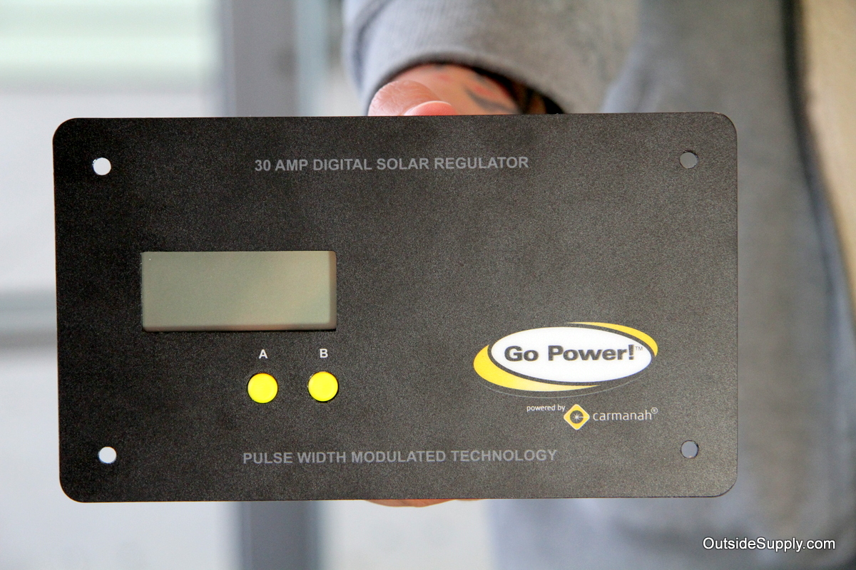 Front of charge controller shows amperage and voltage of battery and solar panel output.