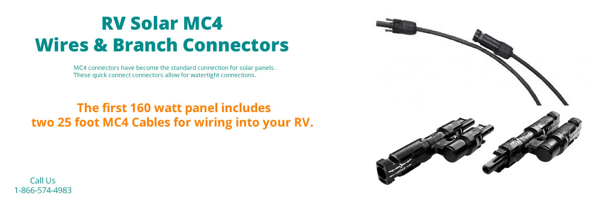 The solar kit includes the MC4 cables for wiring your panel into your RV.