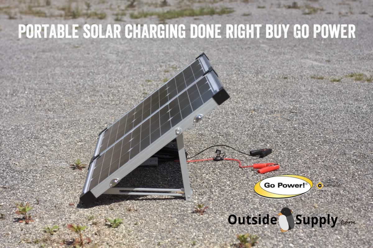 A portable solar panel setup up with battery connectors that are included in the Go Power Kit.