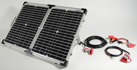 A solar panel in a folding solar kit built for easy setup and storage, finally portable charging from the Sun!
