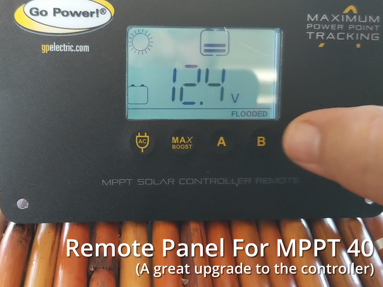Remote display panel for the Go Power GP-MPPT-40 solar battery charge controller