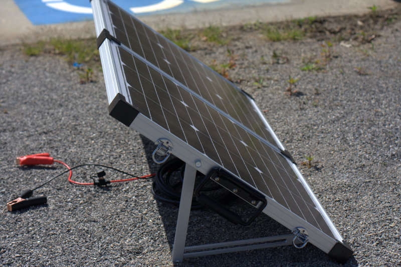 Getting ready to unfold and setup this solar panel. This is side view of this Go Power Portable Panel.