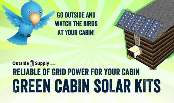 A selection of solar kits and panels for use on remote off grid cabins.