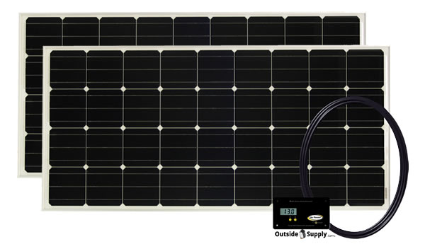 A typical RV solar kit consist of rv solar panels, controller, wire, brackets and outher mounting hardware.
