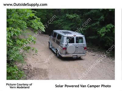 Solar panels installed on a class B camper RV.