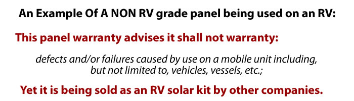 Sample of warranty issue with a panel sold as a rv solar kit.